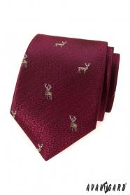 Burgunder Krawatte mit Hirsch