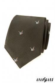 Grüne Krawatte mit Motiv fliegenden Ente