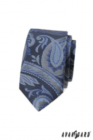 Blaue schmale Krawatte mit modernem Muster