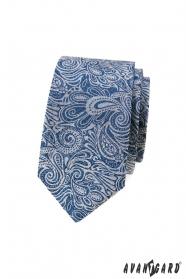 Blaue schmale Krawatte mit Paisley-Muster