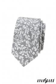 Hellgraue Krawatte mit weißen Blütenblättern