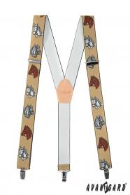 Herren Hosenträger mit Pferdemotiv und Metallclips