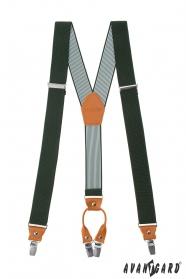 Grüne elastische Hosenträger mit Lederaccessoires