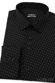Schwarzes Hemd SLIM weiß gemustert