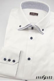 Schneeweißes Slim Hemd mit blauen Knöpfen, Langarm