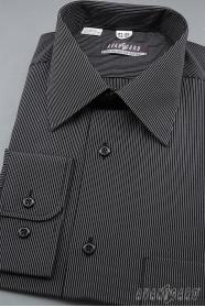 Herren Hemd langarm  Schwarz mit weißem Streifen
