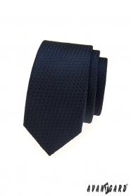 Blaue strukturierte schmale Krawatte