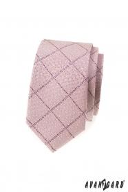 Schmale Krawatte rosa Puder mit Muster