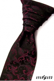 Schwarze Hochzeitskrawatte mit fuchsia Ornamenten