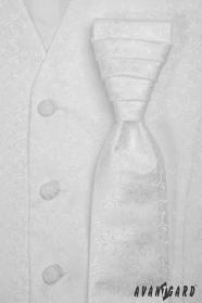 Weiße Hochzeitsweste mit francözischer Krawatte gemustert