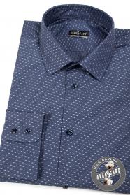 Dunkelblaues Herrenhemd Baumwolle helles Muster