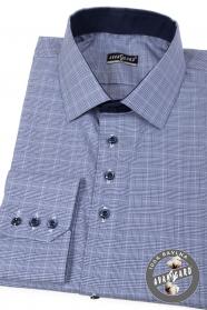 Blaues kariertes, Slim Fit Hemd mit langen Ärmeln