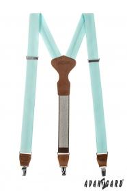 Minze Leder-Hosenträger mit braunen Besätzen