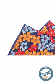 Geblümtes Einstecktuch aus Seide blau orange rot