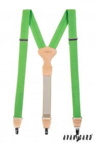 Grasgrüne Stoffhosenträger Y-Form mit Clips
