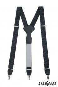 Schwarze Hosenträger mit Musiknotenmuster, schwarzem Leder, Metallclips