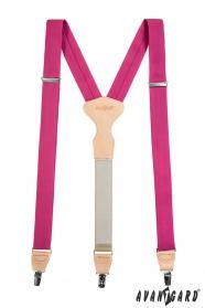 Fuchsia Hosenträger mit Leder und Clips in Geschenkbox
