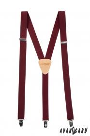 Herren-Hosenträger in Bordo mit beigem Leder und Metallclips