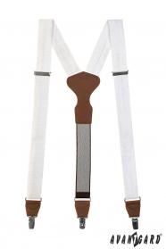 Weiße Hosenträger mit braunem Leder an Clips - Geschenkverpackung