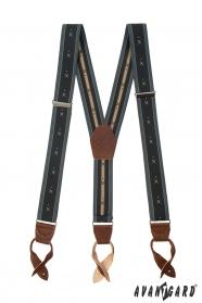 Grau gemusterte Y-Form Hosenträger mit braunem Leder und Lederschlaufen