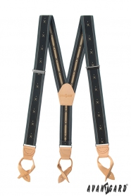 Grau gemusterte Y-Form Hosenträger mit beigem Leder und Lederschlaufen