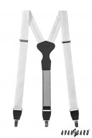 Weißen Hosenträger mit Muster, schwarzes Leder, Metallclips, Geschenkbox