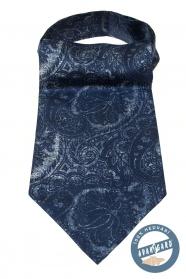 Blauer Ascot mit interessanten Paisley Muster