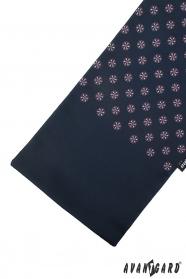 Dunkelblauer Schal mit buntem Muster