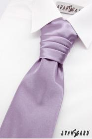 Hellviolette französische Krawatte für Jungen + Einstecktuch