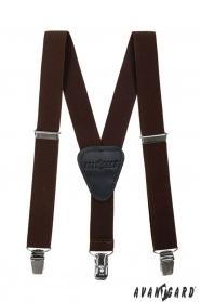 Braune Jungen Hosenträger Y-Form 3-Clip-Halterung