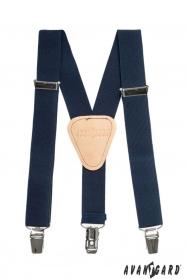 Blaue Hosenträger für Jungen mit Leder und Clips