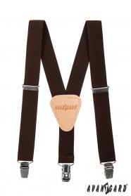 Braune Hosenträger für Jungen mit beigem Leder und Metallclips