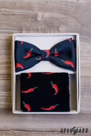 Herrenfliege im Set mit Socken, Chili-Muster