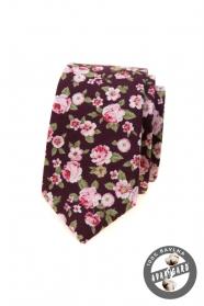 Schmale Krawatte mit rosa Blumen