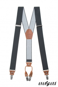 Graphitgraue Herren-Hosenträger mit dunkelbraunem Leder