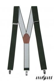 Grüne Hosenträger mit weißen Punkten, braunem Leder und Metallclips