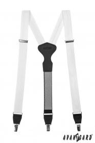 Weiße Hosenträger mit schwarzem Leder, Metallclips, Geschenkbox