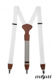Weißen Hosenträger mit braunem Leder, Metallclips, Geschenkbox