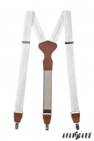 Weißen Hosenträger mit Muster, braunes Leder, Metallclips, Geschenkbox