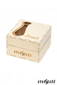 Hölzerne Geschenkbox für Krawatte (Bräutigam)