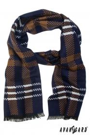 Blau-brauner Schal mit weißem Streifen