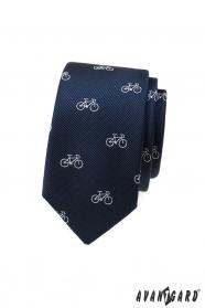 Blaue schmale Krawatte mit weißem Fahrradmotiv