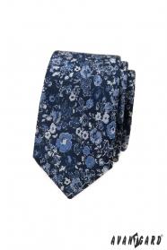 Dunkelblaue slim Krawatte mit Blumenmuster