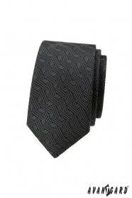 Dunkelgraue schmale Krawatte mit modernem Muster