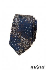 Blaue schmale Krawatte mit Muster