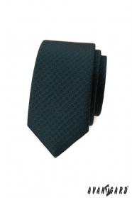 Dunkelgrüne schmale Krawatte mit dunklem Muster