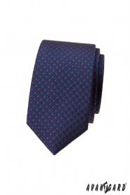 Dunkelblaue, schmale Krawatte mit Tupfen