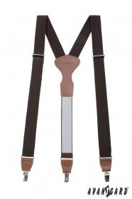 Braune Hosenträger mit braunem Leder und Metallclips