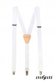 Weiße Hosenträger Y-Form 3-Clip-Halterung