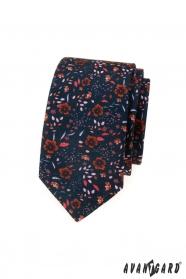 Dunkelblaue schmale Krawatte mit Blumenmuster